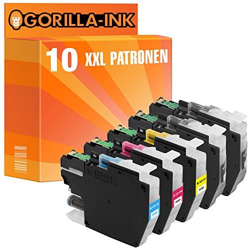 Gorilla-Ink 10x Tinten-Patrone XXL als Ersatz für Brother LC-3213 MFC-J490 Series MFC-J491DW MFC-J497DW DCP-J572DW DCP-J770 Series DCP-J772DNW DCP-J772DW DCP-J774DW