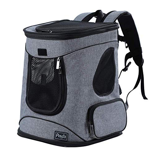"""Petsfit Comfort Dogs/Cat Carrier Backpack,Hold Pets up to 15 LBS,Go for Walk, Hiking and Cycling,Grey, 17"""" H x13 L x11 D"""