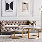 Nesting Tables Set of 2, Round Coffee Tables, Gold Metal Frame Sofa Table Cocktail Table Wooden Surface Side End Table for Living Room-(Gold)
