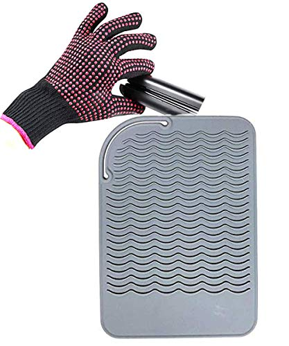 Curling Iron Mat, Heat Resistant Mat with Heat Resistant Glove for Hair...