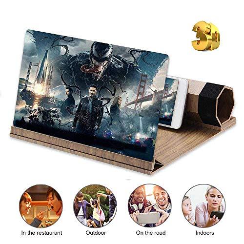TanexBo Ingranditore dello Schermo del Telefono ingrandisce 2-6 Volte, ingranditore dello Schermo 3D da 12 Pollici ingranditore con radioprotezione, Amplificatore Portatile per Home Cinema (Noce)