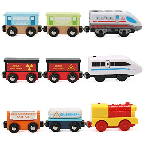On Track USA Wooden Trains Set Motorized Action Trains, 9 Piece Battery Operated Engine Train Toy, 3 Motorized and 6 Wooden Trains. Compatible to Wooden Tracks from All Major Brands
