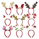 Christmas Headband 9 Pieces Reindeer Antler Elf Headgear Funny Cartoon Animal Xmas Tree Head Hat Christmas Costume Accessories Holiday Party (E)