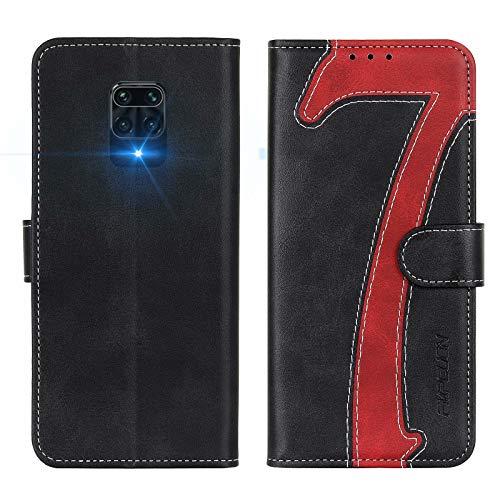 FMPCUON Funda para Xiaomi Redmi Note 9S, Funda Libro Redmi Note 9 Pro, Flip Folio Cartera Carcasa Billetera Móvil Case Cover Cuero Caso para Xiaomi Redmi Note 9S / Redmi Note 9 Pro, Negro Rojo