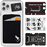 Covered Pocket Secure Card Holder for Back of Phone, Stretchy Fabric Cell Phone Wallet Stick On Credit Card Case by Gecko Travel Tech (Black White)