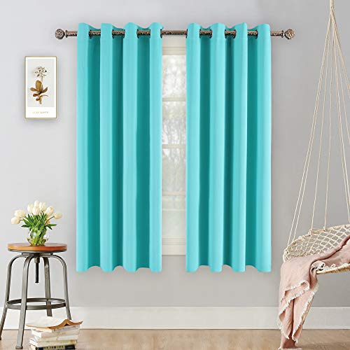 YGO Blackout Curtains for Bedroom Thermal Insulated Window Curtain Panels for Living Room 63 inches Long Room Darkening Window Treatment Sets 2 Panels Turquoise
