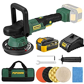 Brushless Cordless Polisher POPOMAN 20V 4.0Ah Battery 6 Inch Orbit 2000-5000 RPM Portable Buffer Polisher with 6 Variable Speed 4 Sponge Pads Tool Bag for Car Polishing Waxing-PMPO01D