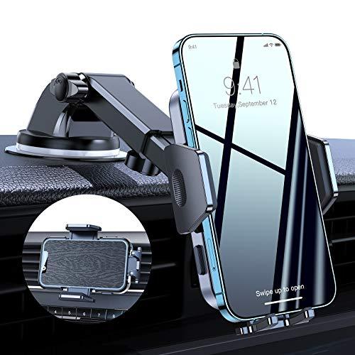 VICSEED Soporte de teléfono móvil para coche 4 en 1, ventosa y ventilación, soporte para smartphone para coche, rotación de 360 grados, soporte universal para todos los teléfonos móviles