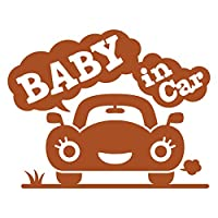 imoninn BABY in car ステッカー 【シンプル版】 No.25 クルマさん (茶色)