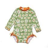Soui Baby Mädchen EIN stück Langärmelige-Kleidung UV-Schutz 50+ Badeanzug MIT Einem (Gänseblümchen, 6-9)