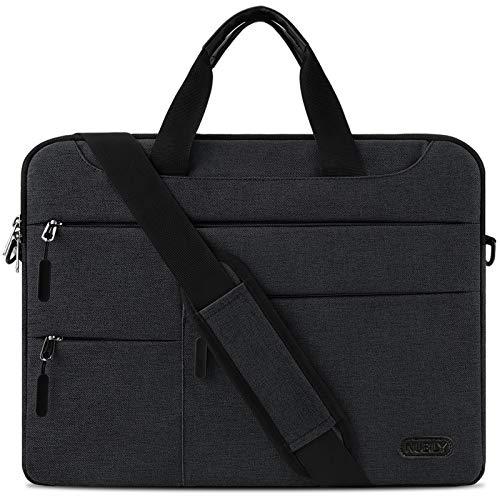 Laptoptasche Herren Aktentasche Schultertasche 14 Zoll Business Arbeitstasche wasserdichte Umhängetasche Notebooktasche für Frauen Männer Schwarz