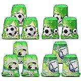 Qpout Fußball Taschen 12 STÜCKE Kordelzug Fußball Rucksack Kindergeburtstag Gastgeschenke Liefert Goodie Taschen für Kinder Mädchen Jungen Kleinkinder