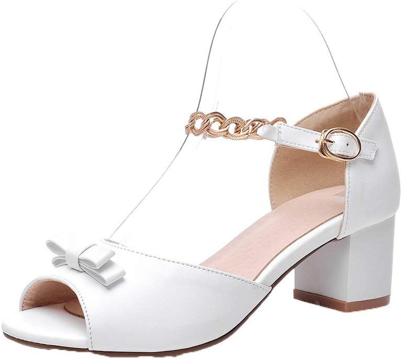 WeiPoot Women's Buckle Open-Toe Kitten-Heels Pu Solid Sandals, EGHLH007368