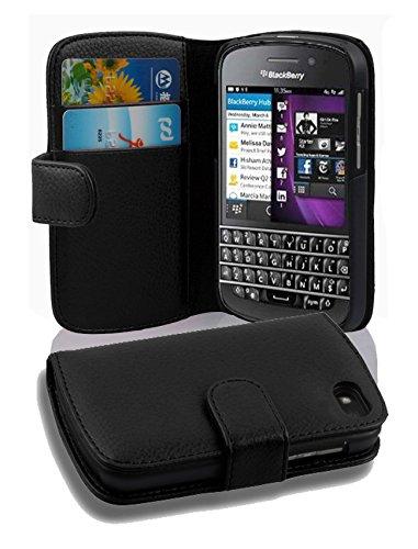 Cadorabo Hülle für BlackBerry Q10 in Oxid SCHWARZ – Handyhülle aus Strukturiertem Kunstleder mit Standfunktion & Kartenfach – Hülle Cover Schutzhülle Etui Tasche Book Klapp Style