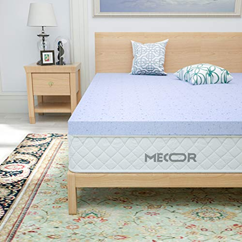 "mecor 2 Inch 2"" King Size Gel Infused Memory Foam Mattress Topper - Ventilated Design Bed Topper w/CertiPUR-US Certified Foam Support for Side, Back, Stomach Sleeper, Purple"