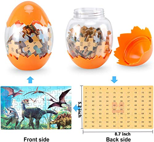 Dinosaur Puzzle, Wooden Puzzles 60 Pieces Puzzles for Kids 3 Years+ Dino Toys 2 Pack Boys Girls Gift 2 ❤SUPER HUGE SIZE DINOSAUR EGG TOY:8.7'' * 5.2 '' , kids need two hands to hold it, combining dinosaur egg with dinosaur puzzle, all kids love it! ❤THE BEST GIFT: Dinosaur Puzzle is suitable for children of 4-5-6-7-8-9-10-11-12 years old as a gift, Christmas, Easter, birthday, game party. ❤EDUCATIONAL DETAILS: This children's dinosaur puzzle allows kids to explore our prehistoric time period, learning about the environment in which the dinosaurs from millions of years ago lived.