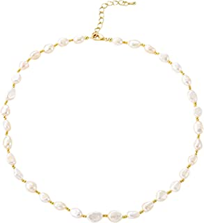"""VIENNOIS AAA Quality Freshwater Cultured Pearl Choker Necklace for Women in 16"""" Length, Connected with small golden beads"""