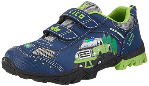 Brütting Unisex - Kinder Halbschuhe Monstertruck V, lose Einlage,Blinklicht, Kids junior Kleinkinder Kinder-Schuhe toben,Marine/Lemon,27 EU
