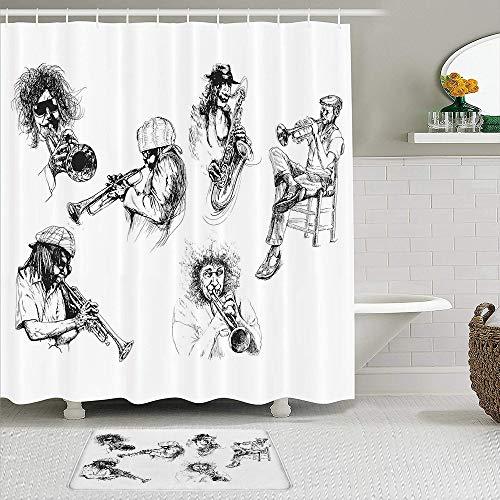 TARTINY 2-teiliges Duschvorhang-Set mit rutschfesten Teppichen,Skizzenbild von Jazzspielern, die Instrumente Trompete & Saxophon Spielen mit 12Haken,rutschfeste Badematte,wasserdichter Duschvorhang