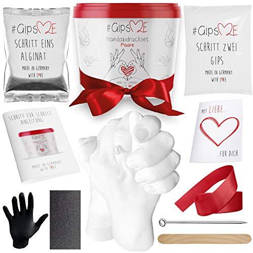 GipsME 3D Handabdruck Set für Paare Hochwertiges Gipsabdruckset Hände Inklusive Alginat Abformmasse als Jahrestag Geschenk für Ihn und Sie Partner Geschenke, Pärchen Geschenke Made in Germany