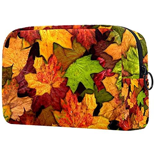 Borsa per trucco compatta Borse per cosmetici da viaggio portatili per borsa da toilette da donna,sfondo di foglie secche autunnali