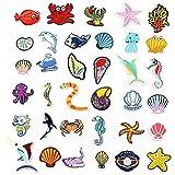 Parches para Ropa Dibujos Animados Animal mariscos Pescado Conchas Marinas Bordado paño Publicado niños Ropa Accesorios Caja Bolsa Accesorios de joyería Pegatinas de Parche (3 5PCS)