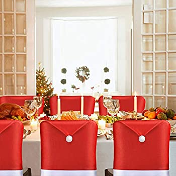 Christmas Chair Back Cover Santa Claus Hat Slipcovers Decoration 6 Pcs 2020 Upgraded Design