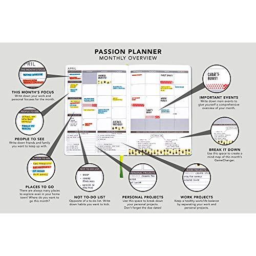 Annual Passion Planner Medium Jan -Dec 2021 (B5-6.9 x 9.8 in) Monday Start Elite Black
