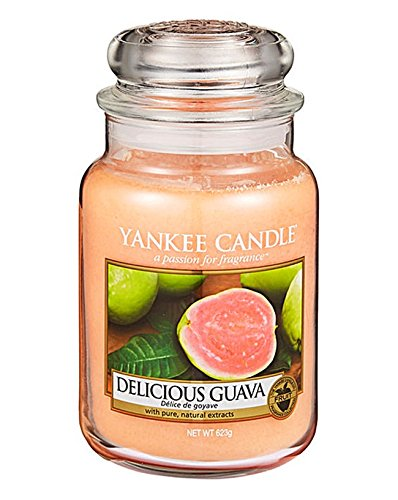 """Yankee-Candle-Duftkerze im Glas, traditioneller, klassischer Duft: """"Delicious Guava"""", Original-Produkt von Yankee Candle, großes Glas, 623g, im transportsicheren Karton verpackt"""
