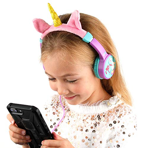 DURAGADGET Kids' Over-Ear Unicorn Headphones (Pink & Purple) with Soft Headband - Compatible with New Apple iPad 10.2 Inch (8th Generation) Tablet