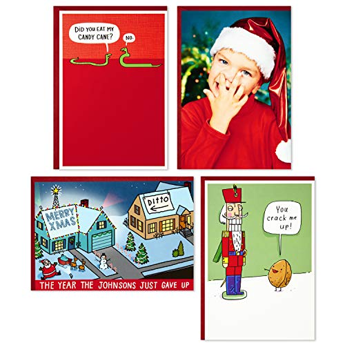 Hallmark Shoebox Funny Boxed Christmas Cards Assortment, Crack Me Up (4 Designs, 24 Christmas Cards with Envelopes)