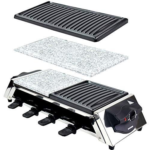 Syntrox Germany Raclette Grill Genf, 8 Personen, 4 Grillplatten, heißer Stein, stufenlose Temperaturregelung, 1500W