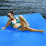 GYMAX Floating Water Pad, 9'/18' x 6' Water Foam Mat with Rolling Pillow, 3-Layer Floating Island for Pool River Lake Beach Ocean Water Activities (Blue, 9 Feet)