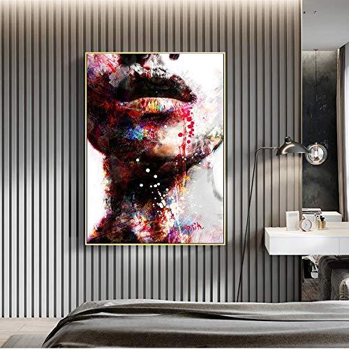 YuanMinglu Afrikanische Frauen Leinwand Malerei Wandkunst Druck Leinwand abstrakte Graffiti Wandkunst Bild Rahmenlose Malerei30x40cm
