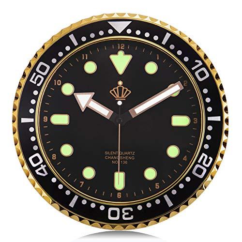 Lafocuse Reloj de Pared Silencioso Luminoso Creativo Reloj Cuarzo Industrial Negro para Salon Comedor Dormitorio 30 cm