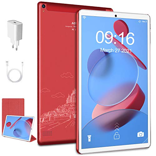 Tablet Android 10 tablets 10.1 pollici Touch-Screen IPS HD, 4GB RAM+64GB ROM Espanso 128GB ,Processore Quad Core ,Solo wifi Tablets PC Bluetooth 4.2,Batteria 6000mAh - Rosso