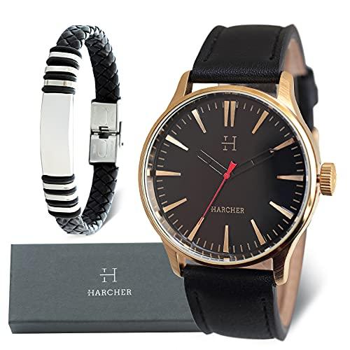 SKYLINE Caja de Reloj Hombre, Conjunto de Reloj Negro, Pulsera, Caja de Acero Inoxidable, Caja de Regalo Rígida, Regalo Ideal, Reloj Negro-Dorado