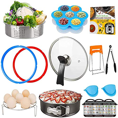 Pressure Cooking Accessories Set, 13 PCS IP Accessories Compatible with 5,6,8Qt Instant Pot, Recipe Cookbook, Steamer Baskets, Non-Stick Springform Pan, Egg Rack, Egg Bites Mold