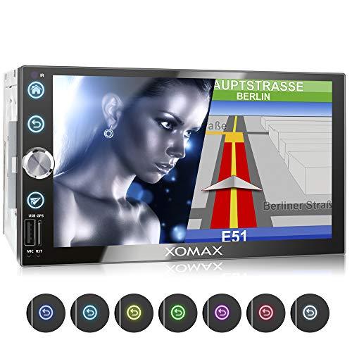XOMAX XM-2VN768 Autoradio mit Mirrorlink, GPS Navigation, Navi Software, Bluetooth Freisprecheinrichtung, 7 Zoll / 18cm Touchscreen Bildschirm, FM Tuner, SD, USB, 2 DIN