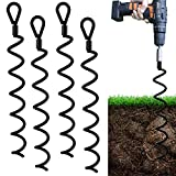 Jayzod 18 Inch Spiral Earth Ground Heavy Duty Shed Anchor Kit Ideal as Dog tie Out Stake Securing Animals, Tents, Canopies, Sheds, Car Ports, Swing Sets,4Pack,Adapter was not Included