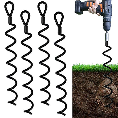 Jayzod 18 Inch Spiral Earth Ground Heavy Duty Shed Anchor Kit Ideal as Dog tie Out Stake Securing Animals, Tents, Canopies, Sheds, Car Ports, Swing Sets,4Pack …