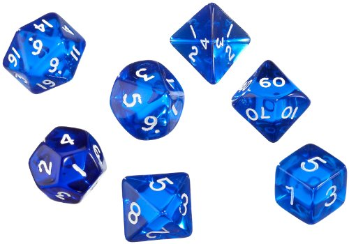 Pegasus 207055 x x – Gem Bleu, 7 boîte avec 1 x W4, W6, W8, W10, W00, W12, W20
