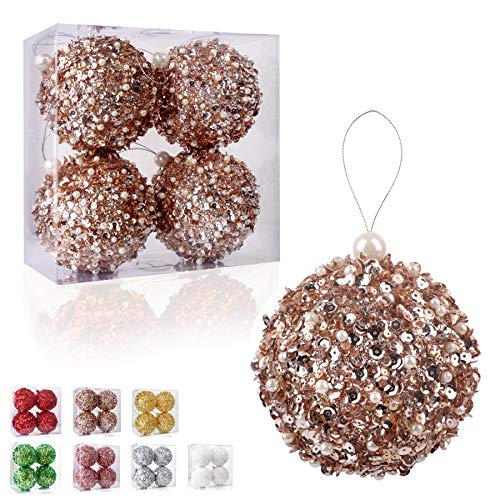 4.25' Christmas Ball Ornaments 4pc Set Rose Gold Shatterproof Christmas Decorations Tree Balls for Xmas Trees Wedding Party Holiday Decorations Tabletop Small Trees Decoration (Rose Gold)