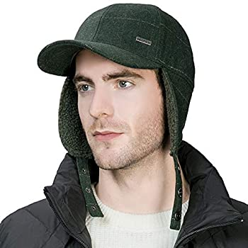 Jeff & Aimy Herringbone Tweed Wool Mens Winter Hat Womens Baseball Cap with Fleece Ear Flaps Muffs Warm Lined Trapper Hunting Ski Chavo Del Cold Weather Hat Olive Green 58-60CM
