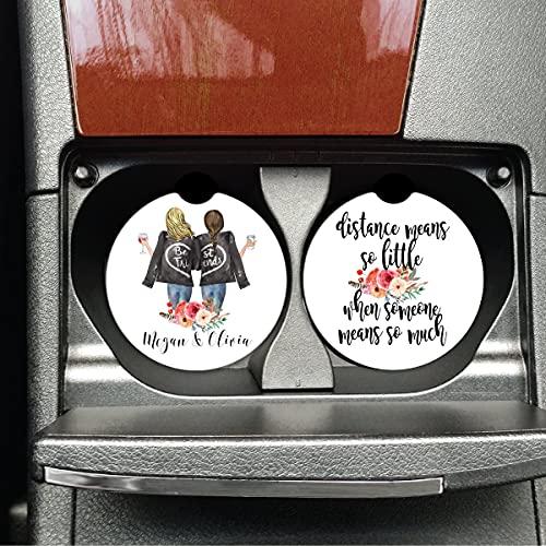 DKISEE Regalos personalizados Bestie, regalo de larga distancia, regalo para mudanza, posavasos de coche, BFF, distancia significa tan poco - X2093