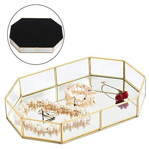 Pahdecor Vintage Makeup Jewelry Organizer Mirrored Glass Tray Handmade Home Decorative Metal Vanity Tray,Gold Leaf Finish(Large)