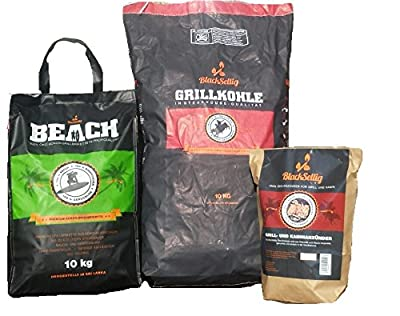 Beach Coconut Briquettes 10kg + 10kg Rodeo Steak House Coal + 50x Black sellig Bio Lighter – Perfect Professional Quality – Free Shipping.