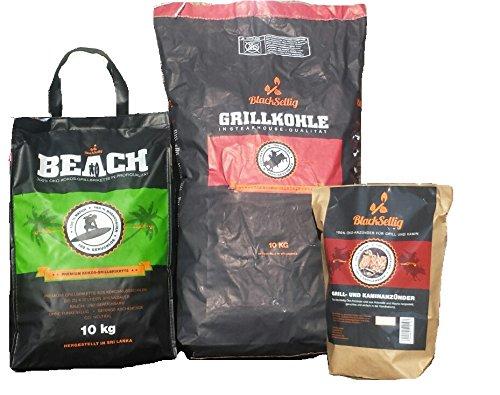 BlackSellig 10 Kg Beach Kokos Grill Briketts + 10 Kg Steakhouse Kohle + 50 Stück natürliche Anzünder perfekte Profiqualität