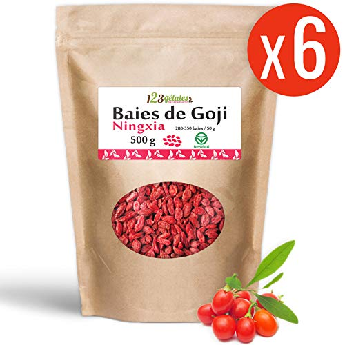 Baies de Goji Greenfood origine Ningxia (Lycium Barbarum) 500 gr x 6