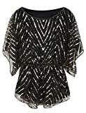 PrettyGuide Women's Sequin Blouse Tops Glitter Beaded Evening Formal Party Dressy Tops Gold US8